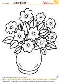 Kleurplaat bloemenvaas