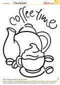 Kleurplaat koffietijd