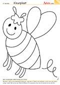 Kleurplaat schattige honingbij