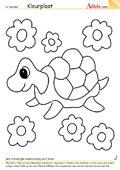 Kleurplaat schildpad met bloemen