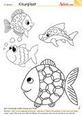 Kleurplaat bonte vissen