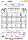 Woordzoeker - gemeenten provincie Zeeland