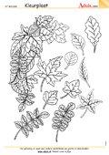 Kleurplaat herfstbladeren